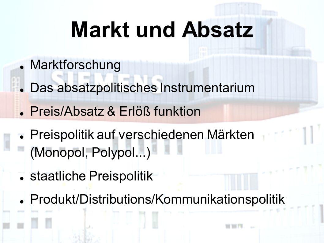 Markt und Absatz Marktforschung Das absatzpolitisches Instrumentarium