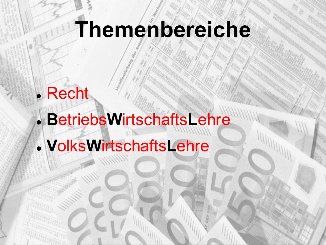 Themenbereiche Recht BetriebsWirtschaftsLehre VolksWirtschaftsLehre