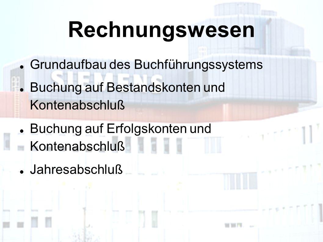 Rechnungswesen Grundaufbau des Buchführungssystems