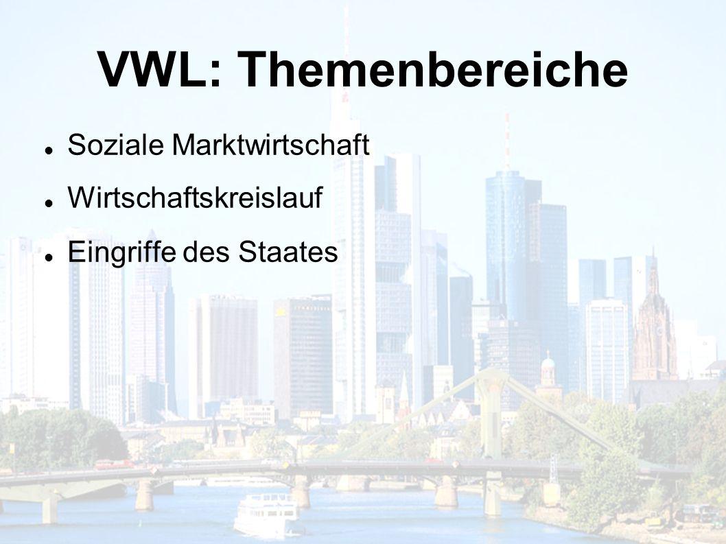 VWL: Themenbereiche Soziale Marktwirtschaft Wirtschaftskreislauf