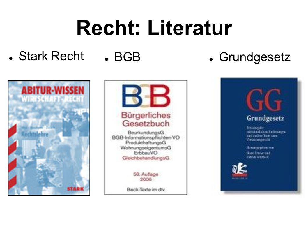 Recht: Literatur Stark Recht BGB Grundgesetz