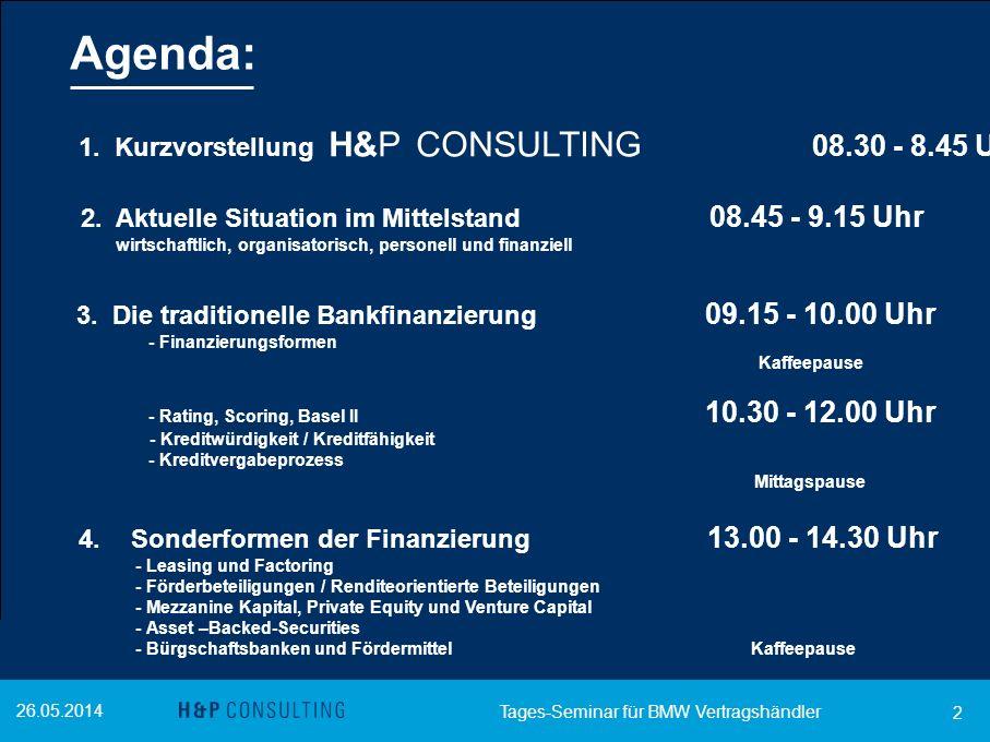 Agenda: 1. Kurzvorstellung H&P CONSULTING 08.30 - 8.45 Uhr