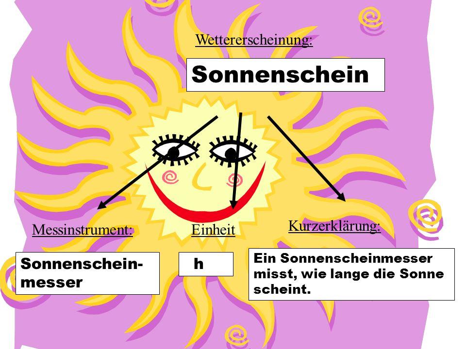 Sonnenschein Wettererscheinung: Kurzerklärung: Messinstrument: Einheit