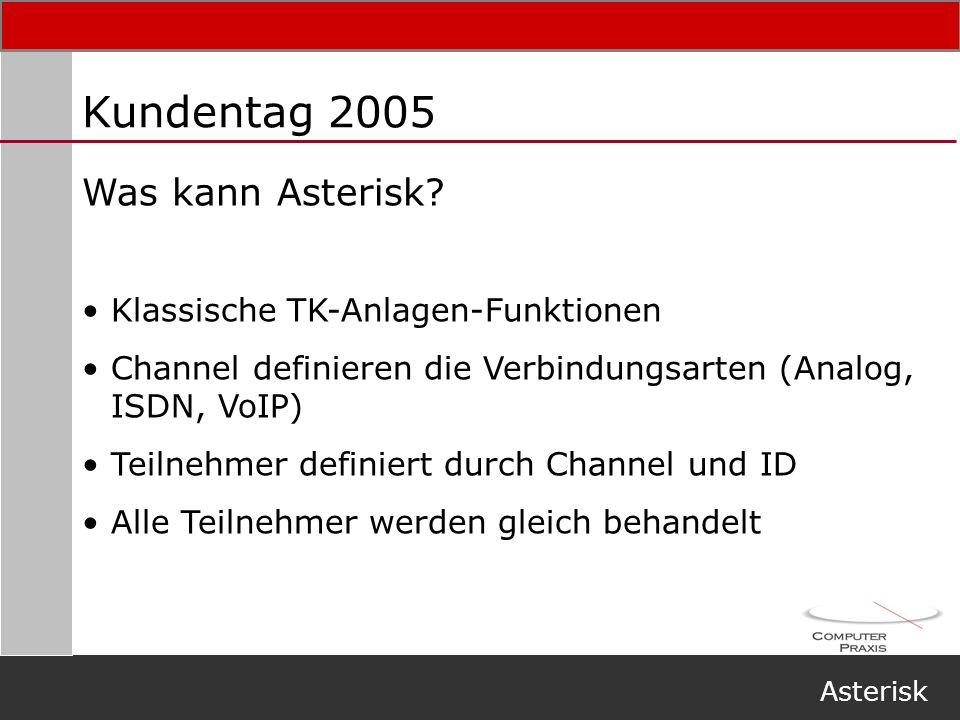 Kundentag 2005 Was kann Asterisk Klassische TK-Anlagen-Funktionen