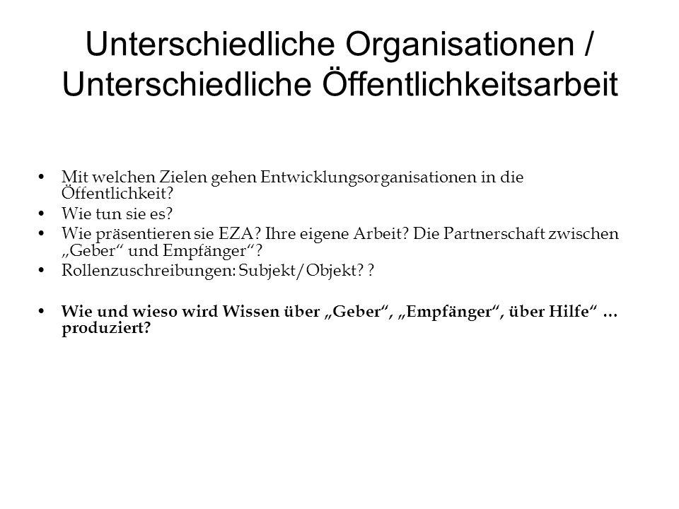 Unterschiedliche Organisationen / Unterschiedliche Öffentlichkeitsarbeit