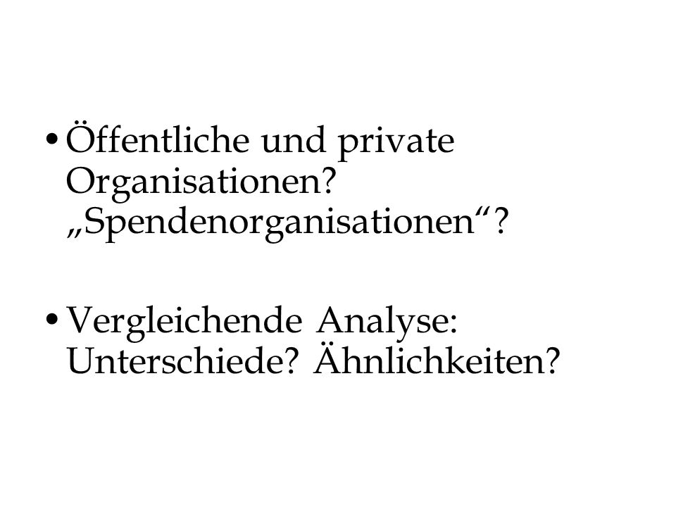 """Öffentliche und private Organisationen """"Spendenorganisationen"""