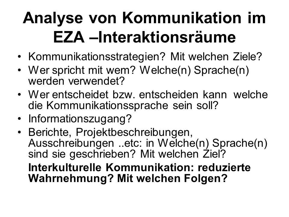 Analyse von Kommunikation im EZA –Interaktionsräume