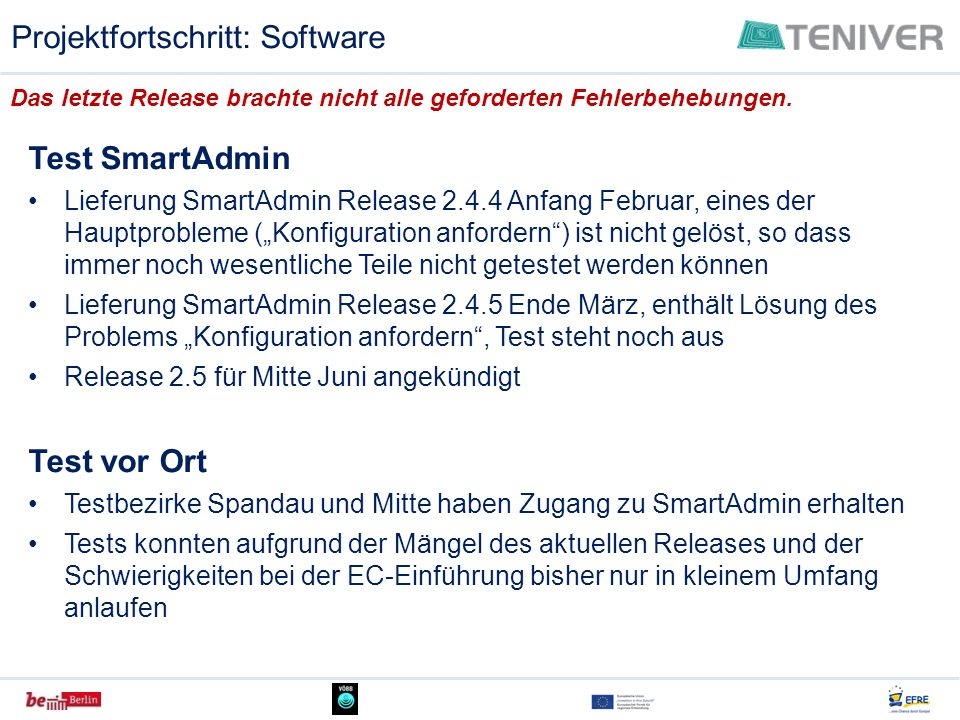Projektfortschritt: Software