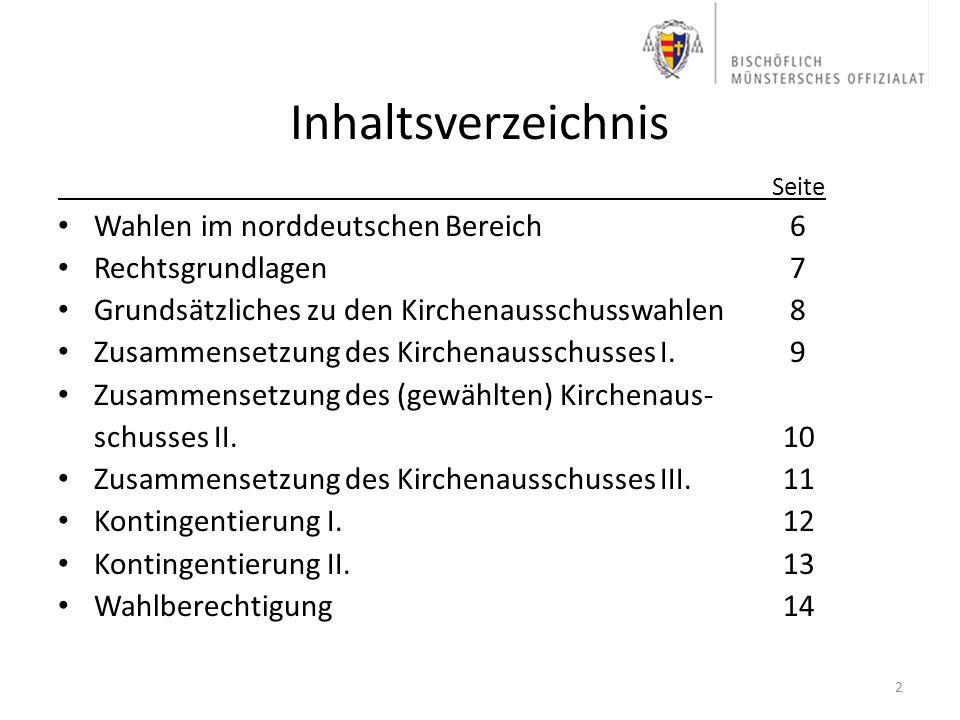 Inhaltsverzeichnis Wahlen im norddeutschen Bereich 6