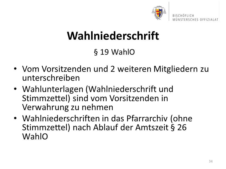 Wahlniederschrift § 19 WahlO