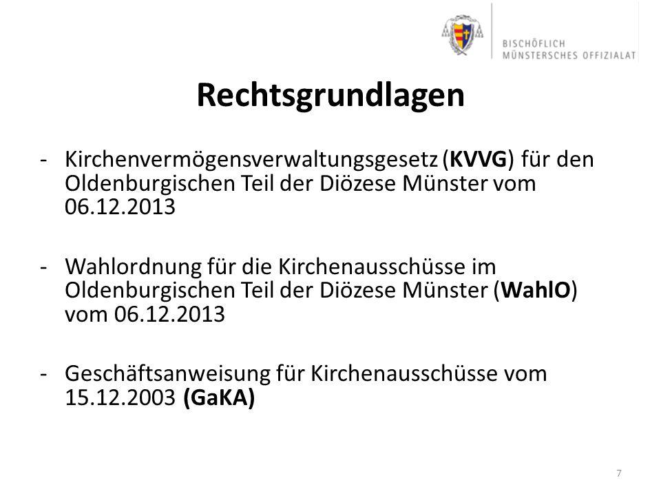 Rechtsgrundlagen Kirchenvermögensverwaltungsgesetz (KVVG) für den Oldenburgischen Teil der Diözese Münster vom 06.12.2013.