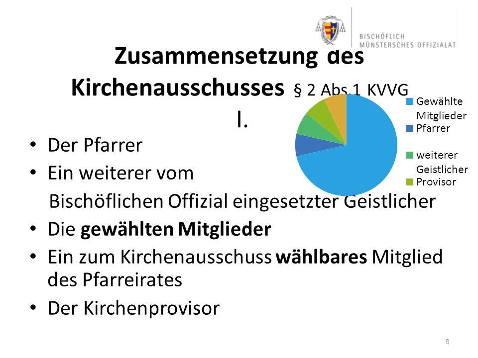 Zusammensetzung des Kirchenausschusses § 2 Abs.1 KVVG I.
