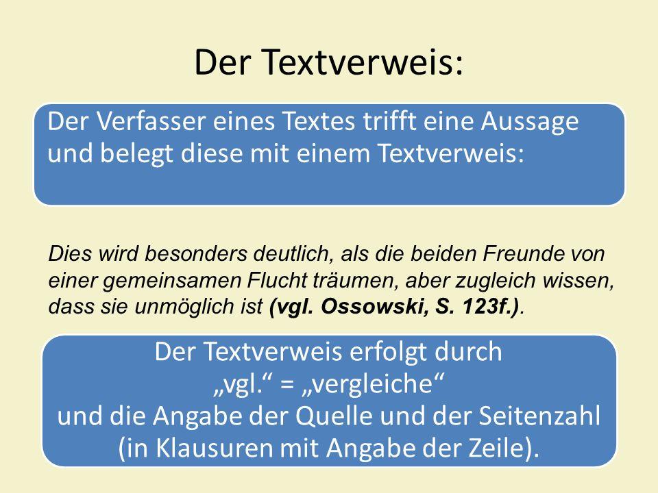 Der Textverweis: Der Verfasser eines Textes trifft eine Aussage und belegt diese mit einem Textverweis: