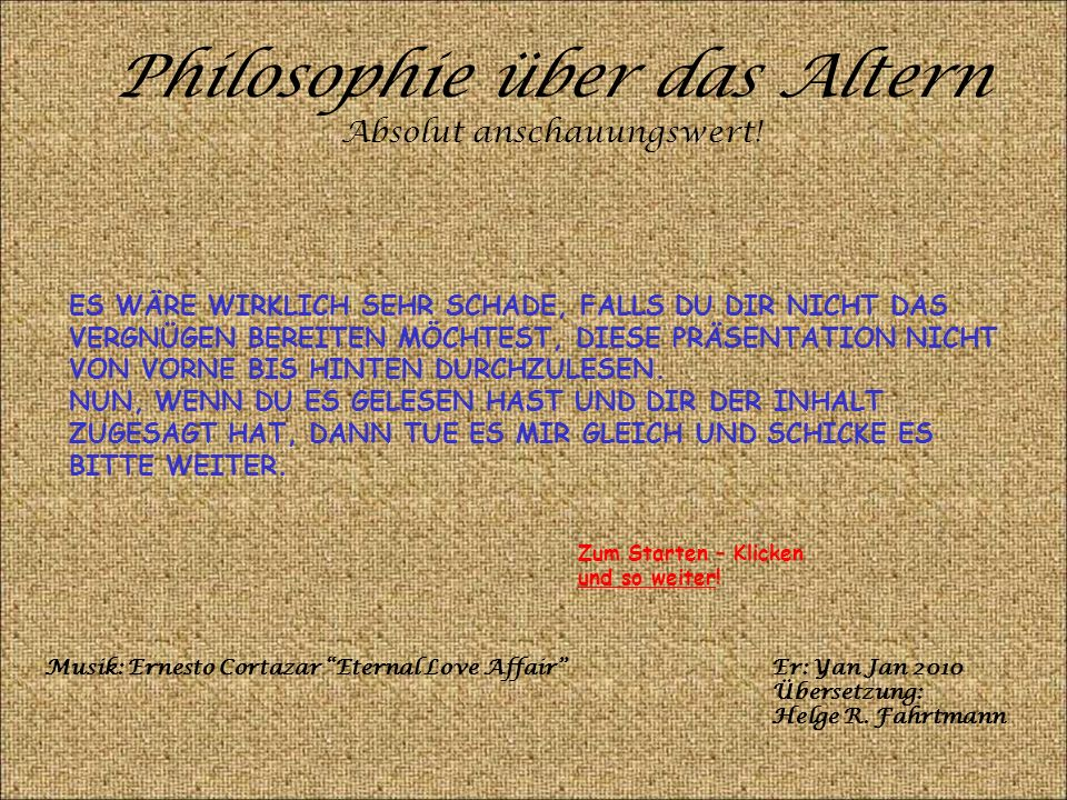 Philosophie über das Altern