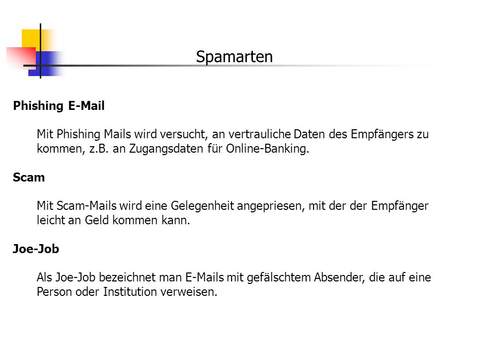 Spamarten Phishing E-Mail