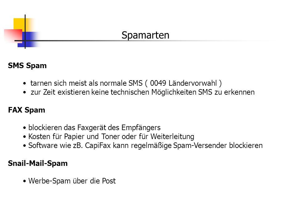 Spamarten SMS Spam. tarnen sich meist als normale SMS ( 0049 Ländervorwahl ) zur Zeit existieren keine technischen Möglichkeiten SMS zu erkennen.