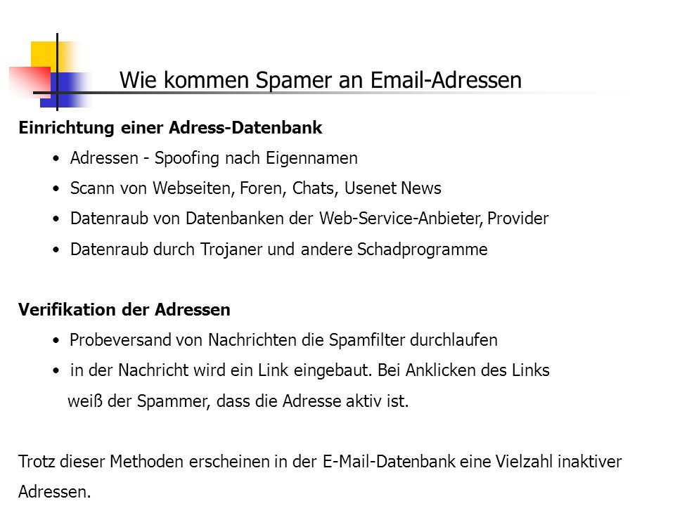 Wie kommen Spamer an Email-Adressen