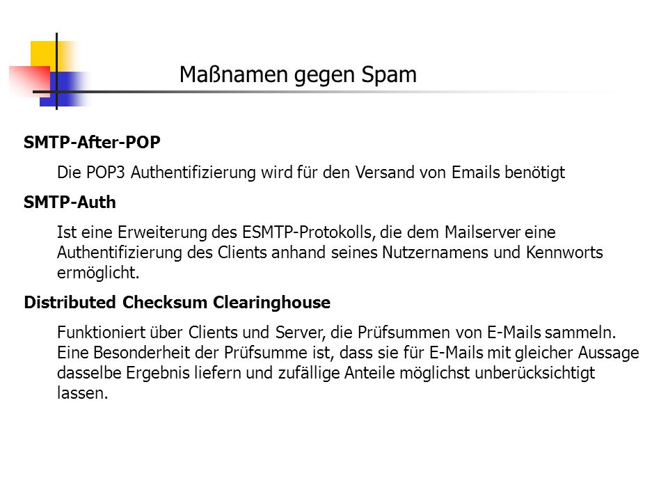 Maßnamen gegen Spam SMTP-After-POP
