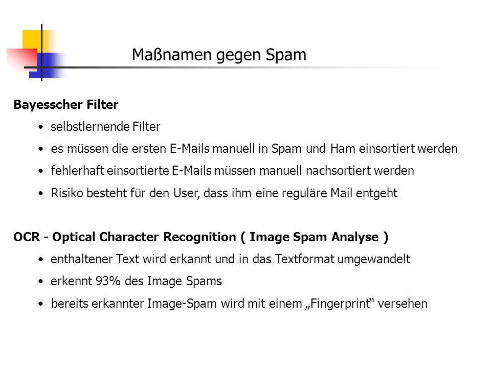 Maßnamen gegen Spam Bayesscher Filter selbstlernende Filter