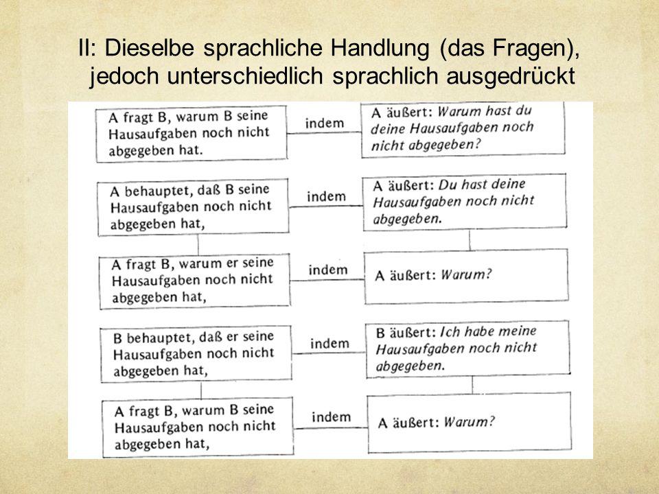II: Dieselbe sprachliche Handlung (das Fragen),