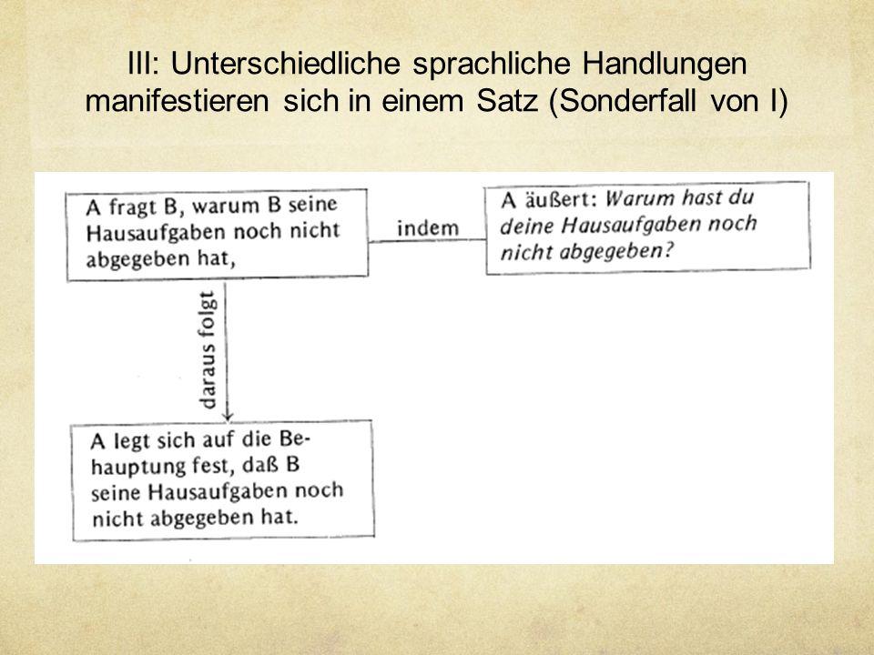 III: Unterschiedliche sprachliche Handlungen