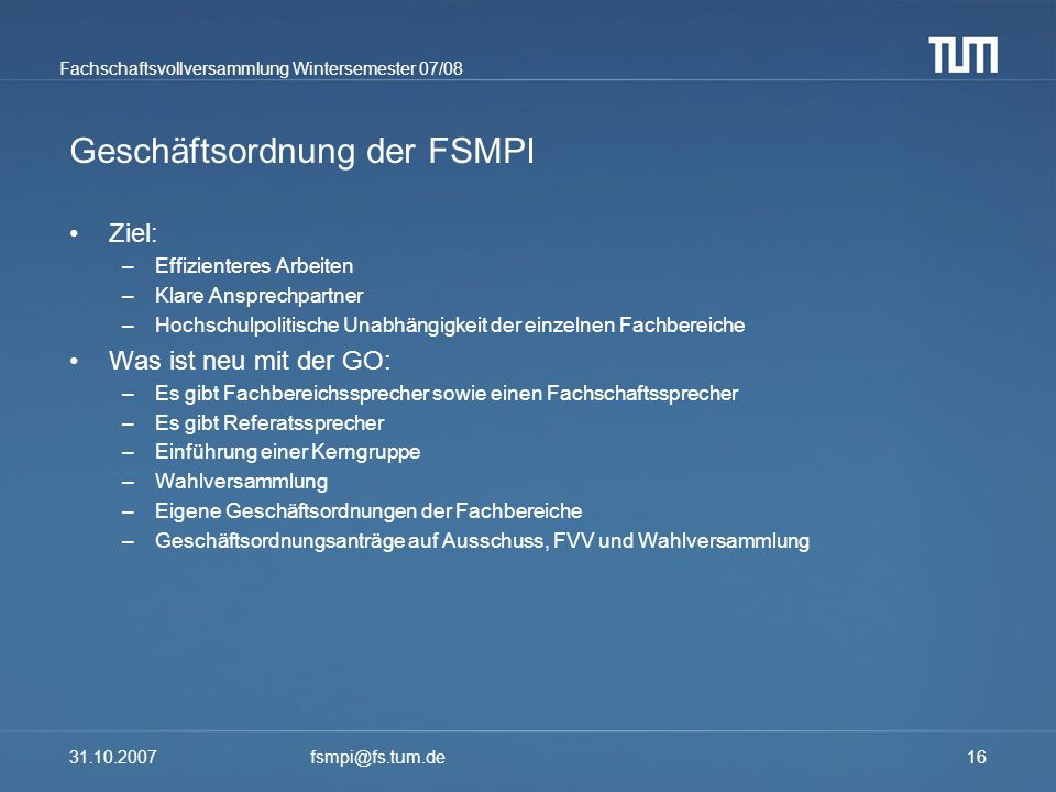Geschäftsordnung der FSMPI
