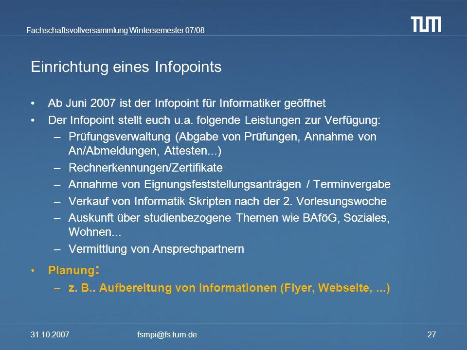 Einrichtung eines Infopoints