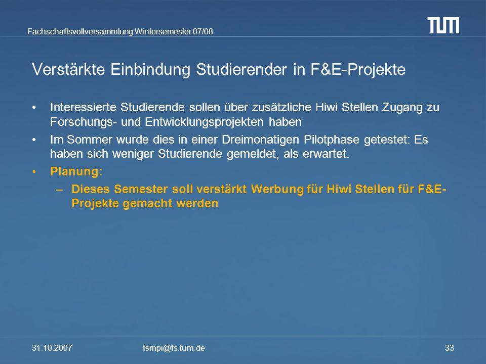 Verstärkte Einbindung Studierender in F&E-Projekte