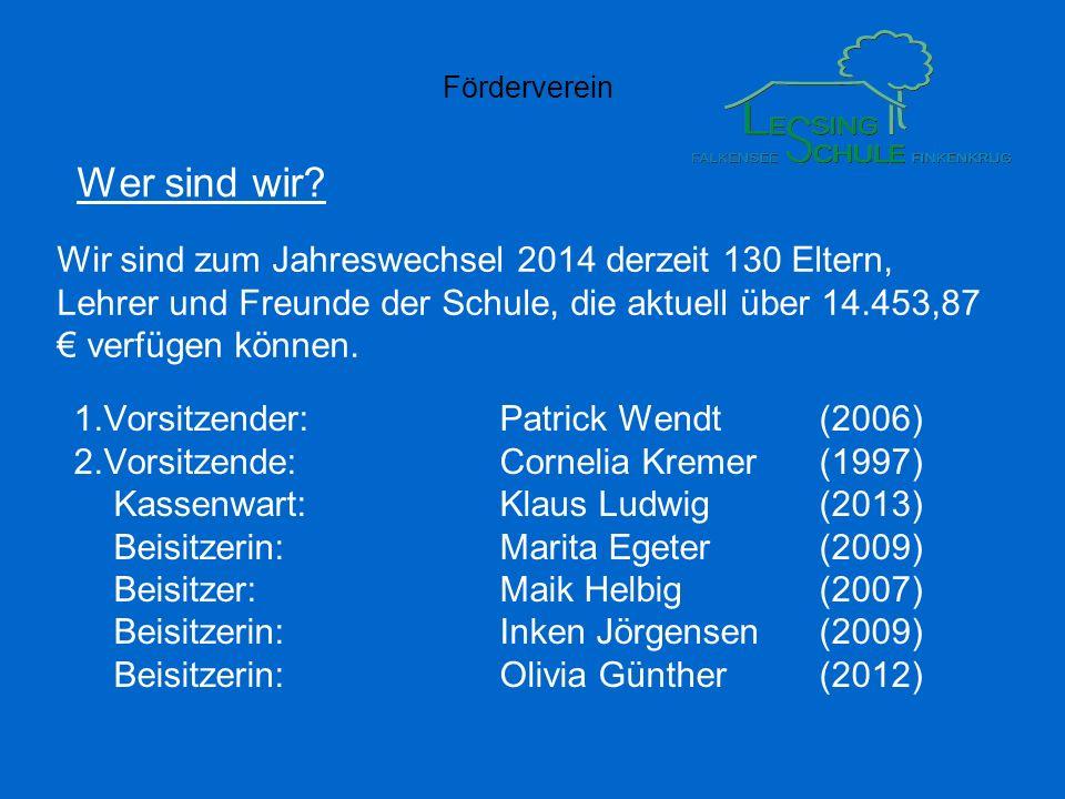 Wer sind wir Wir sind zum Jahreswechsel 2014 derzeit 130 Eltern, Lehrer und Freunde der Schule, die aktuell über 14.453,87 € verfügen können.