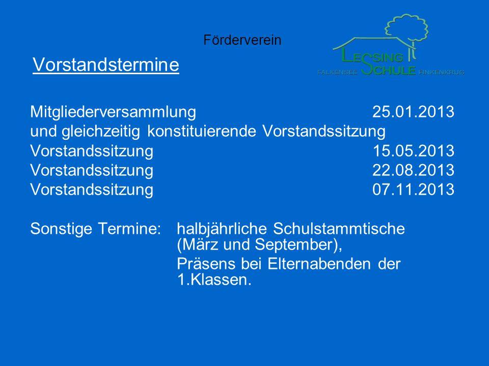 Vorstandstermine Mitgliederversammlung 25.01.2013
