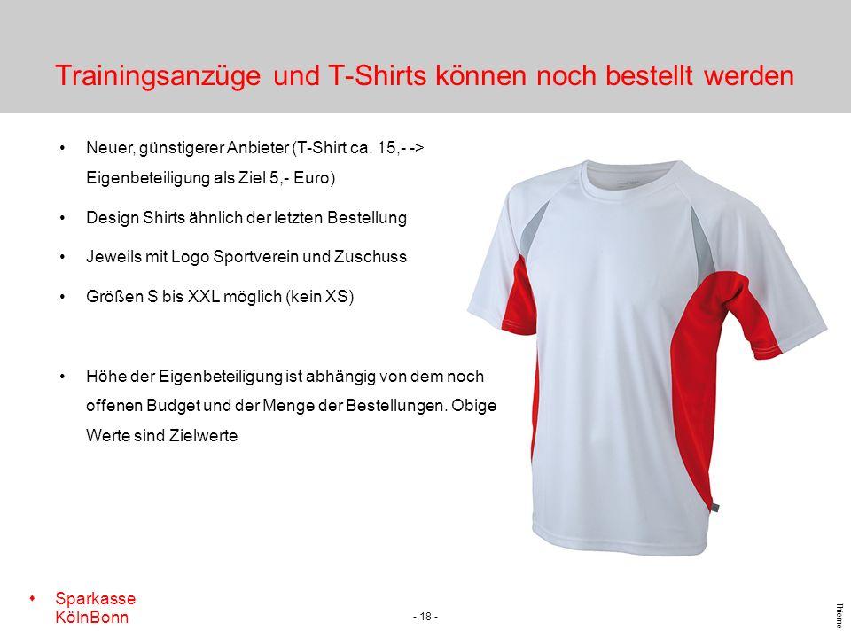 Trainingsanzüge und T-Shirts können noch bestellt werden