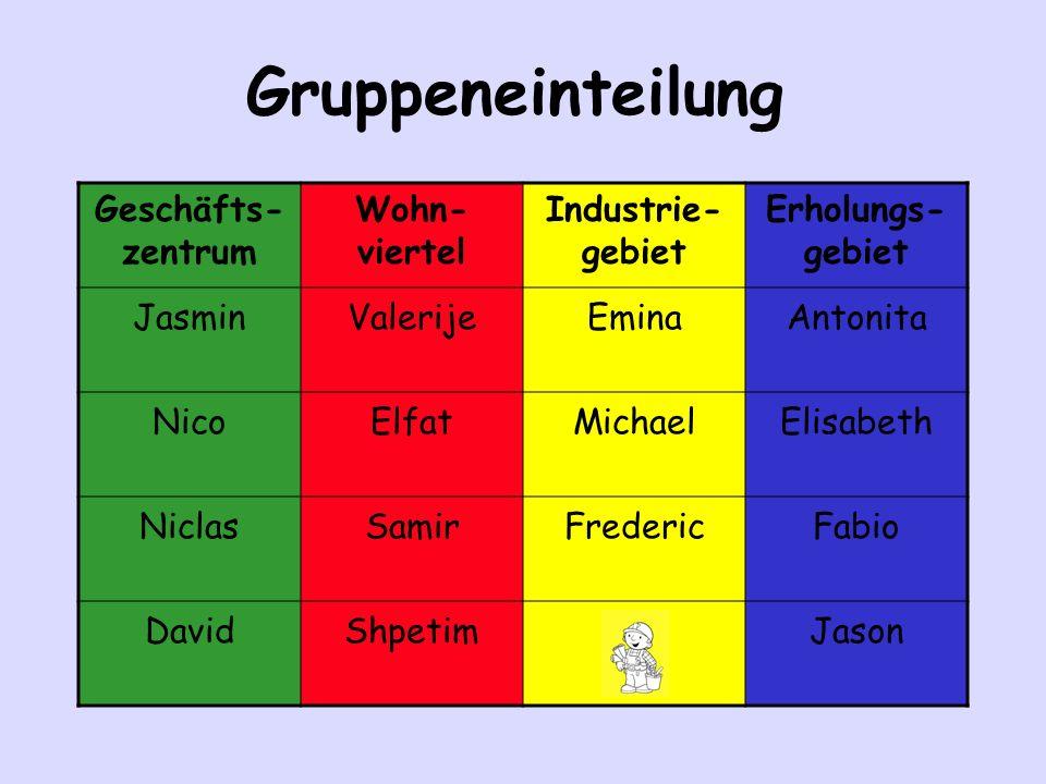 Gruppeneinteilung Geschäfts-zentrum Wohn-viertel Industrie-gebiet