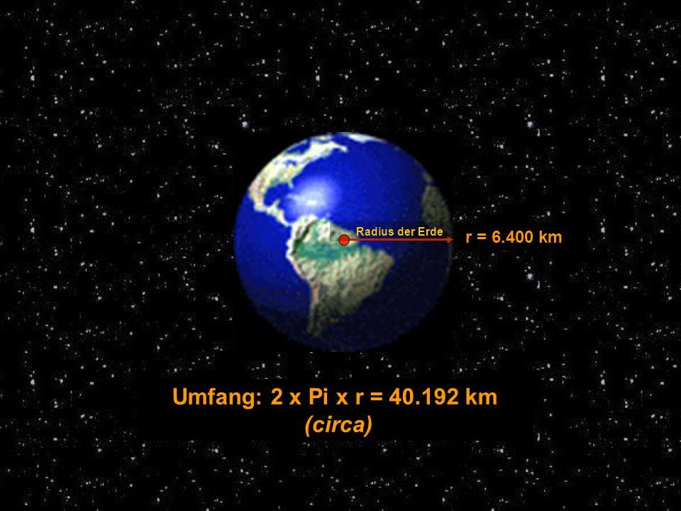 Umfang: 2 x Pi x r = 40.192 km (circa)