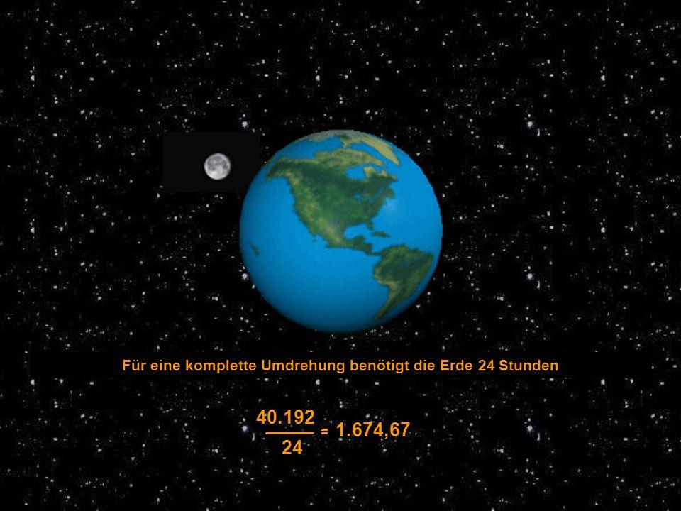 Für eine komplette Umdrehung benötigt die Erde 24 Stunden