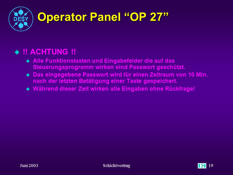 Operator Panel OP 27 !! ACHTUNG !!