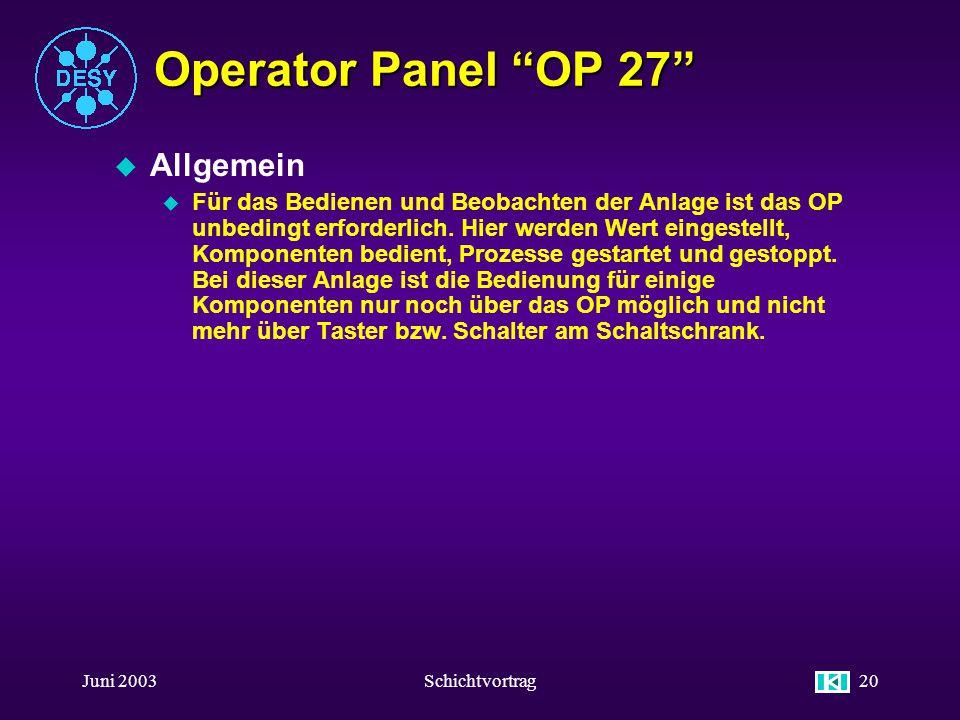 Operator Panel OP 27 Allgemein