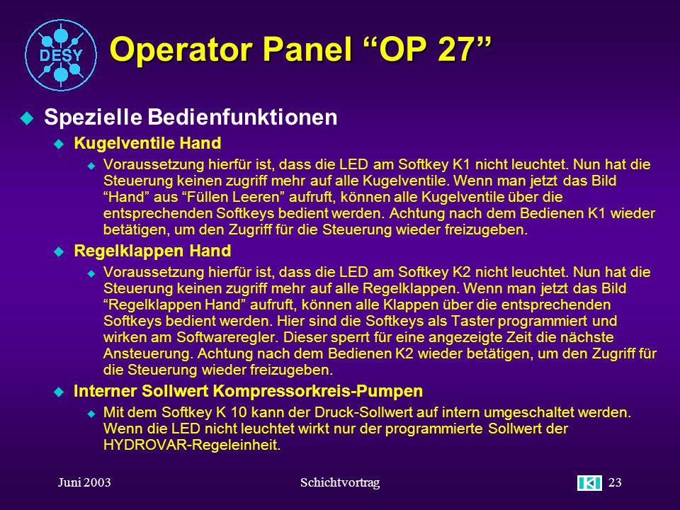 Operator Panel OP 27 Spezielle Bedienfunktionen Kugelventile Hand