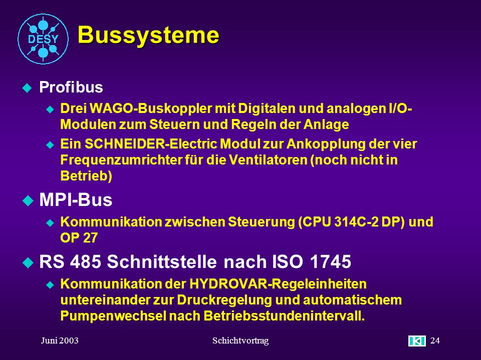 Bussysteme MPI-Bus RS 485 Schnittstelle nach ISO 1745 Profibus