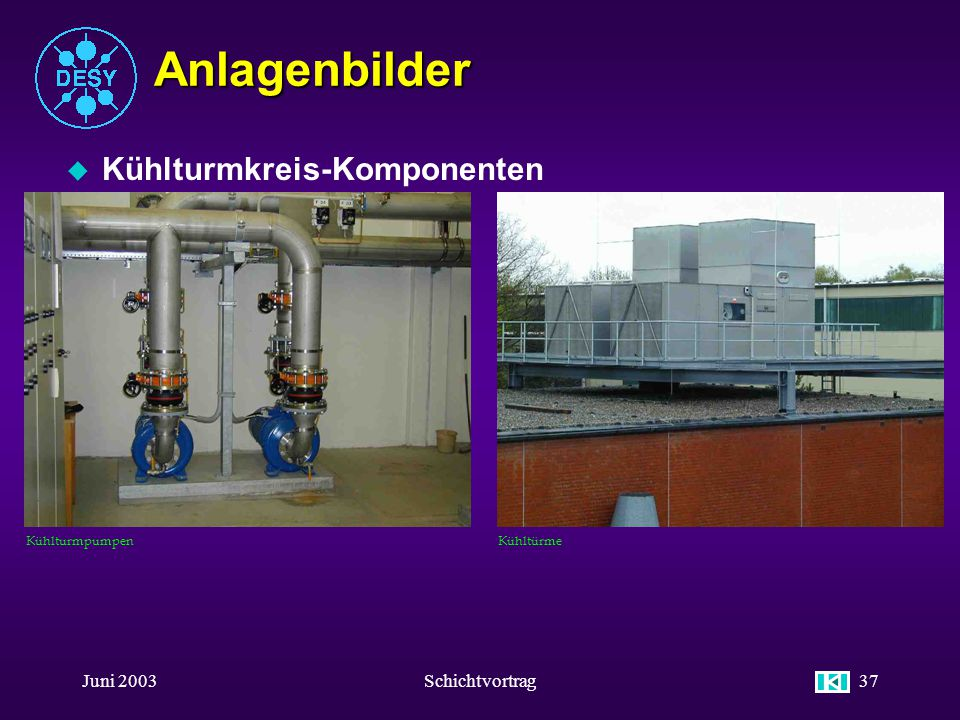 Anlagenbilder Kühlturmkreis-Komponenten Juni 2003 Schichtvortrag