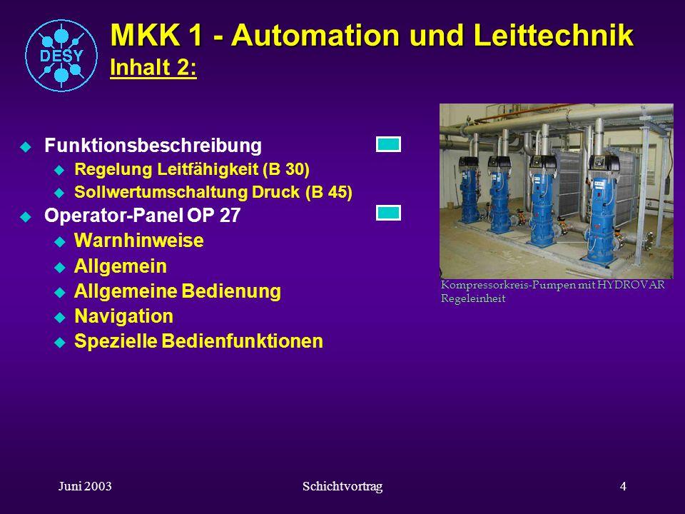 MKK 1 - Automation und Leittechnik Inhalt 2: