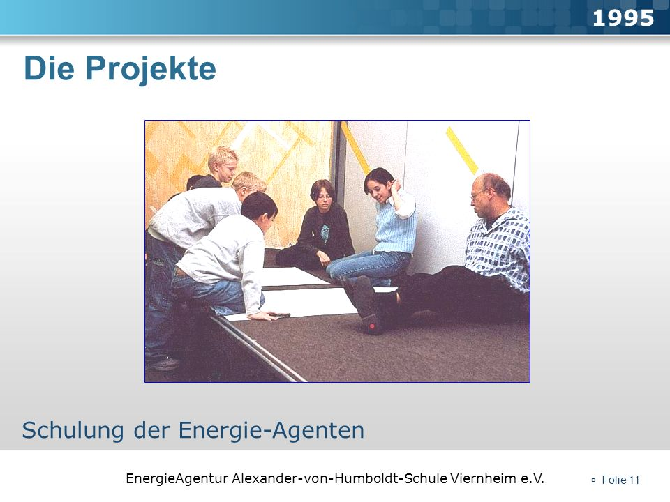 1995 Die Projekte Schulung der Energie-Agenten  Folie 11