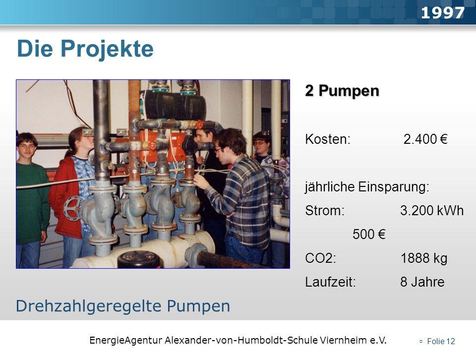 Die Projekte 1997 2 Pumpen Drehzahlgeregelte Pumpen Kosten: 2.400 €