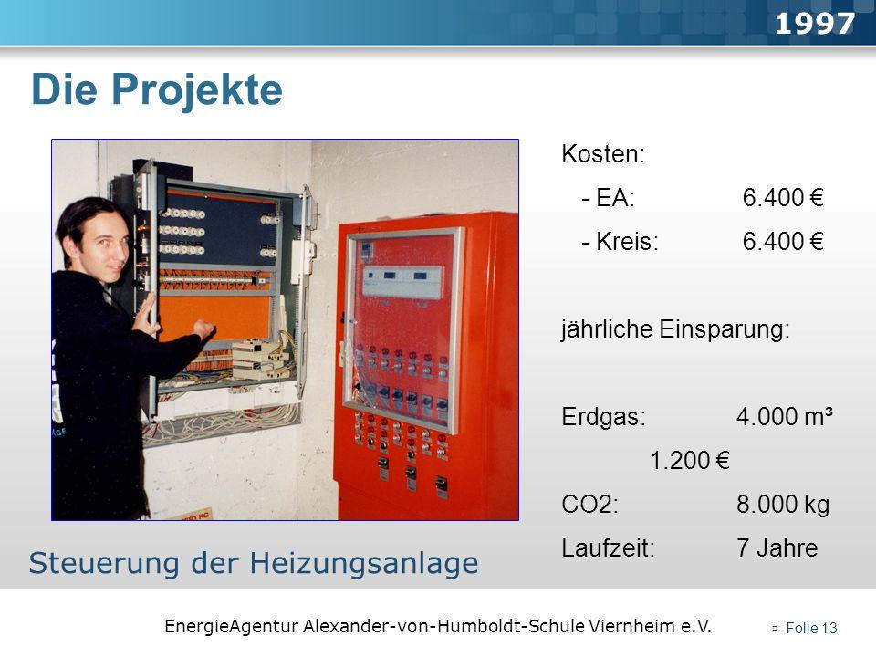 Die Projekte 1997 Steuerung der Heizungsanlage Kosten: - EA: 6.400 €