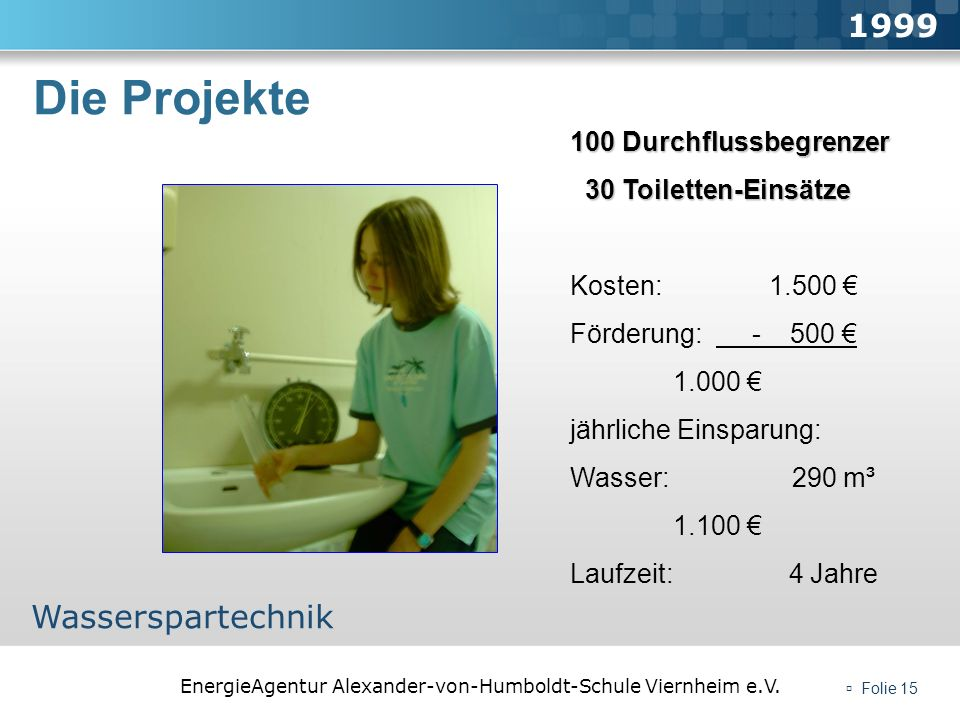 Die Projekte 1999 Wasserspartechnik 100 Durchflussbegrenzer