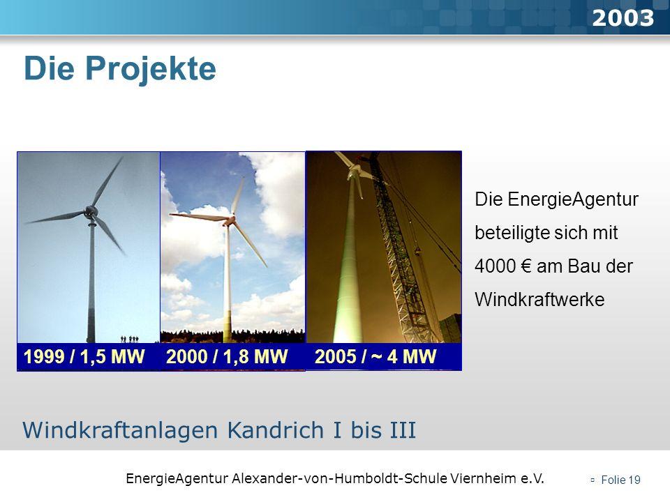 Die Projekte 2003 Windkraftanlagen Kandrich I bis III 1999 / 1,5 MW