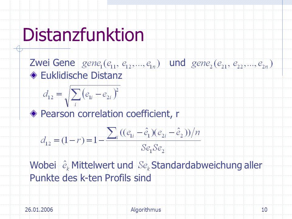 Distanzfunktion Zwei Gene und Euklidische Distanz