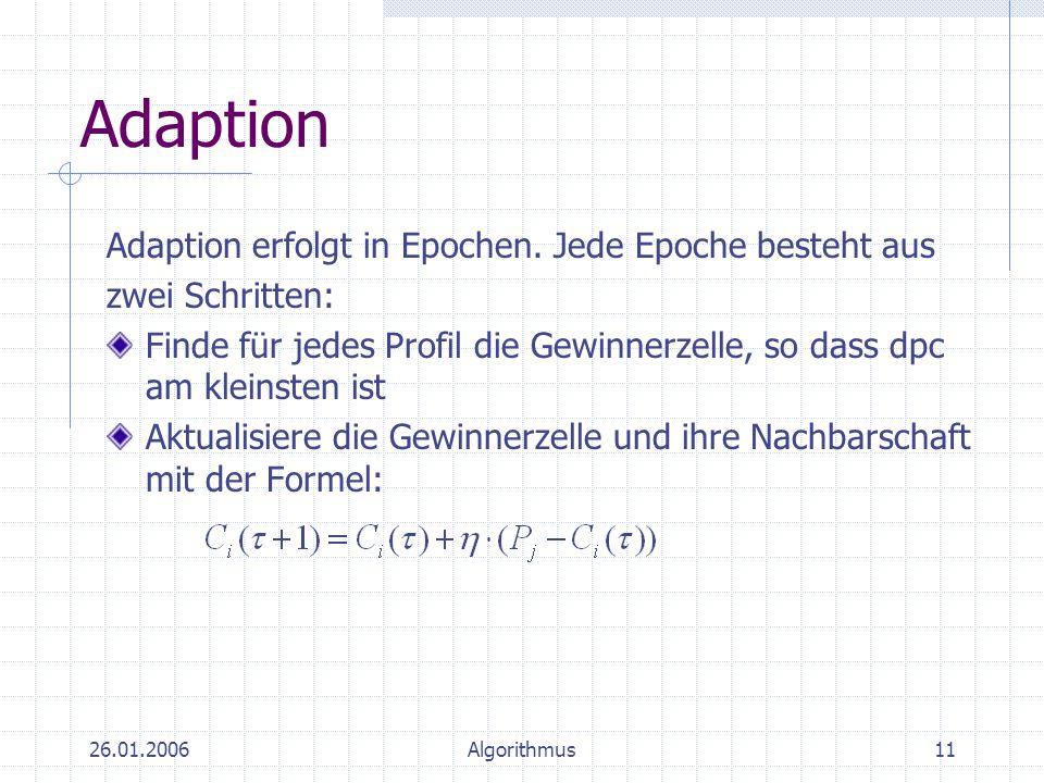 Adaption Adaption erfolgt in Epochen. Jede Epoche besteht aus