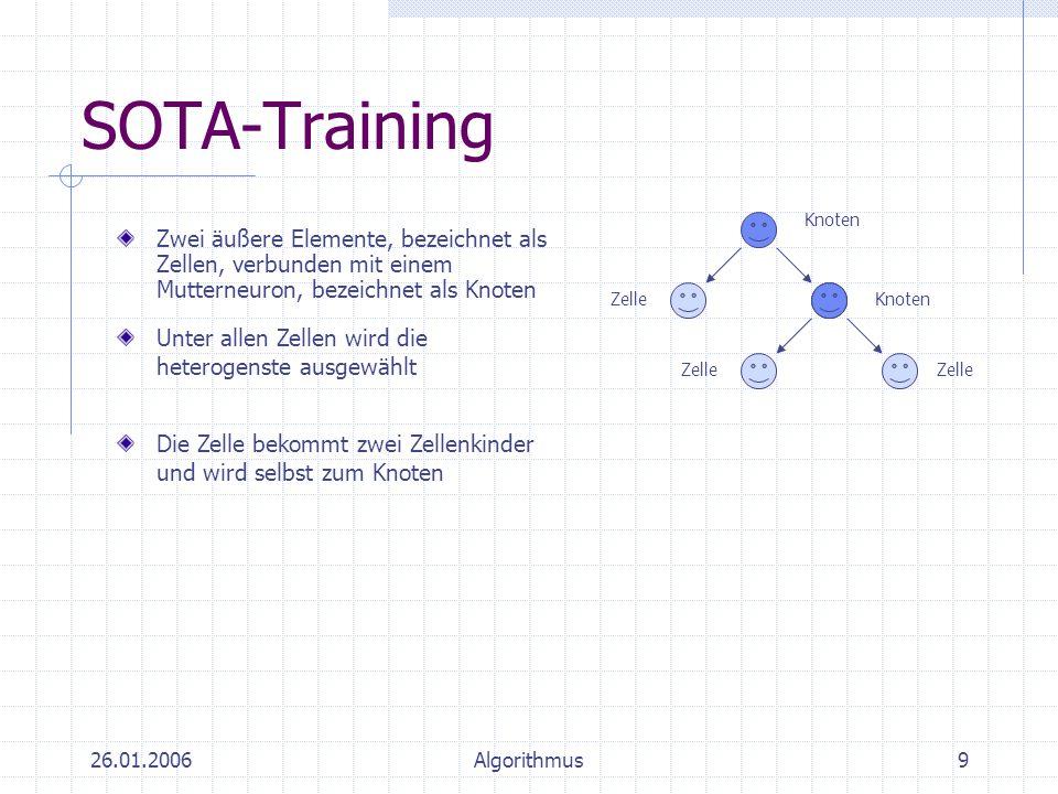 SOTA-Training Zelle. Knoten. Zwei äußere Elemente, bezeichnet als Zellen, verbunden mit einem Mutterneuron, bezeichnet als Knoten.