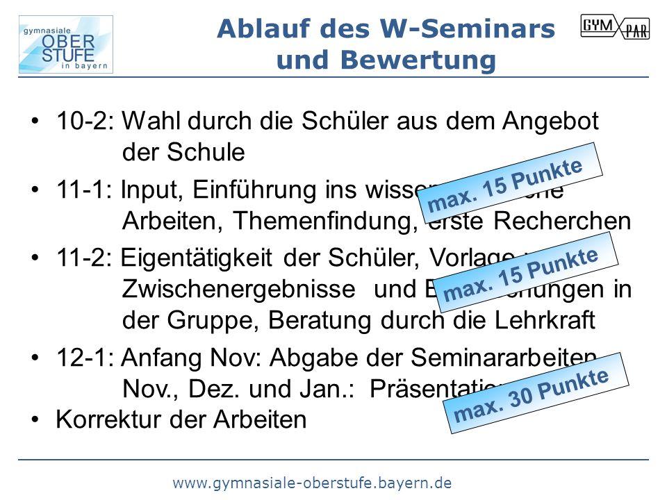 Ablauf des W-Seminars und Bewertung