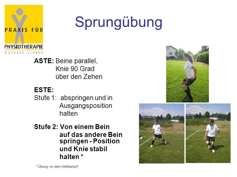 Sprungübung ASTE: Beine parallel, Knie 90 Grad über den Zehen ESTE: